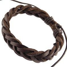 Mens Dark Brown Real Leather Braided Wristband Bracelet .Mens Dark Brown Real Leather Braided Wristband Bracelet. | streeze.com