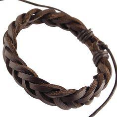 Mens Dark Brown Real Leather Braided Wristband Bracelet .Mens Dark Brown Real Leather Braided Wristband Bracelet. | streeze.com