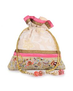 Cream Potli with Floral Pattern- Buy Bags,Divya Kanakia: Potlis Online | Exclusively.in