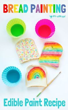 ART YOU CAN EAT is such fun! Check out our easy EDIBLE PAINT recipe and get the kids busy creating their own rainbow bread masterpieces! Toddler Crafts, Toddler Activities, Kids Crafts, Activities For Kids, Craft Kids, Indoor Activities, Kids Activity Ideas, Preschool Cooking Activities, Rainbow Crafts Preschool