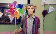 A cardboard chimpanzee mask kit that literally speaks for itself.