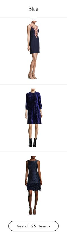 """Blue"" by miss-amazing-grace ❤ liked on Polyvore featuring dresses, beaded dresses, sleeveless dress, back zipper dress, v neck shift dress, embroidered cotton dress, multi, blue midi dress, velvet dress and blue shift dress"
