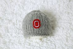Hand knitted Ohio State newborn baby beanie hat by PhotoPropsnMore, $25.00