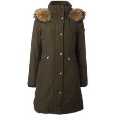 Michael Michael Kors down panel parka (2.570 RON) ❤ liked on Polyvore featuring outerwear, coats, green, michael michael kors, brown coat, fur coat, green fur parka and green parka