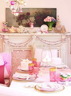 Pink Decorated Fireplace