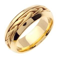 14K Yellow Gold Hand Braided Cord Wedding Band