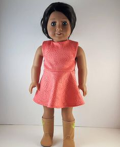 Coral Summer Dresses, Skater Skirt Dress, Spandex Dress, Little Brown, Coordinating Colors, Doll Stuff, 18 Inch Doll, Knitted Fabric, Polyester Spandex