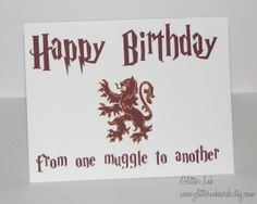 Harry Potter Birthday  Happy Birthday Muggle by GlitterInkCards, $5.00