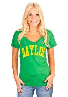 "When the summer sun shines bright, gotta go light and bright! // #Baylor ""Boyfriend"" Scoop T-shirt from rallyhouse.com #SicEm"