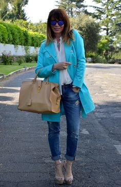 beige and turquoise
