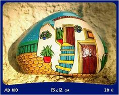 little ocean villa on this rock! Stone Art Painting, Pebble Painting, Pebble Art, Stone Crafts, Rock Crafts, Arts And Crafts, Diy Crafts, Rock Painting Patterns, Rock Painting Designs