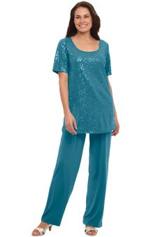 """Our plus size sequined pantset has a fabulous put-together look. You'll love its feminine styling—and its great fit. Sure to make any occasion more special.  sequined top has a slightly draped scoop neck, short sleeves, hem slits; 30"""" length falls comfortably to upper thigh pants with comfort-fit elastic waist, pockets; 29"""" inseam falls to full length soft, washable polyester/spandex knit, imported  Women's pantsets and pant suits in sizes M(14W-16W), L(18W-20W), ..."""