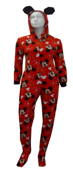 Disney's Mickey Mouse Red Hooded Onesie Footie Pajama The perfect jammies for any Disney fan! These pajamas for women feature D...