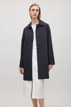 COS image 7 of Rounded collar coat in Navy