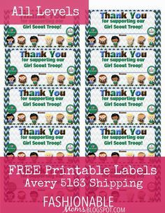 Free Printable: Thank You Labels for Cookie Boxes. Love this idea, just in time for Girl Scout Cookie sales.
