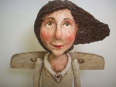 """Primitive PAPER MACHE Folk Art Angel~ 15"""" tall by 8"""" wide from wing to wing. Sold on Etsy... (click the pic to see full size images of this super cute angel) http://www.etsy.com/listing/150283186/primitive-paper-mache-folk-art-angel"""