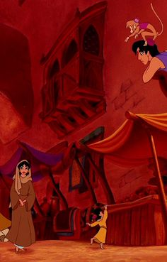 Aladdin - The street markets of Agrabah - a child is taking an apple, Jasmine has escaped the palace and is wandering around the city, Aladdin and Abu are watching Disney Pixar, Walt Disney, Deco Disney, Disney Nerd, Disney Couples, Disney And Dreamworks, Disney Magic, Disney Dream, Disney Love