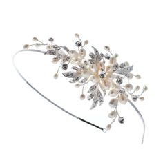 Fabulous freshwater pearl & clear diamante flower wedding side tiara perfect for a retro vintage wedding or a modern summer styled bride.