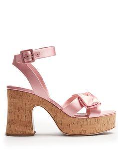 MIU MIU Bow-detail satin platform sandals. #miumiu #shoes #sandals