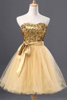 Gold sequin Homecoming dresses, Short Tulle Homecoming dresses, 2016 Homecoming dresses, sexy Homecoming dresses, Long sleeve dresses, 17312