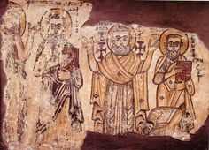 From left to right Onophrius the Anchorite, Apa Macarius, Apa Apollo and Apa Pamoun. Monastery of Apa Jeremiah, Saqqara ca. Early Christian, Christian Art, Religious Images, Celtic Designs, Illuminated Manuscript, Textiles, Byzantine, African Art, Egyptian