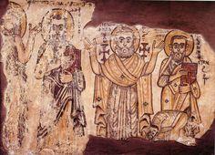 From left to right Onophrius the Anchorite, Apa Macarius, Apa Apollo and Apa Pamoun. Monastery of Apa Jeremiah, Saqqara ca. 6th-7th century