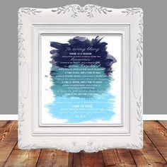 Bible Verse Scripture art Bible verse printable by glorydesigns Printable Bible Verses, Scripture Art, Ecclesiastes 3, Gods Promises, Digital Art, Printables, Faith, Watercolor, Handmade Gifts