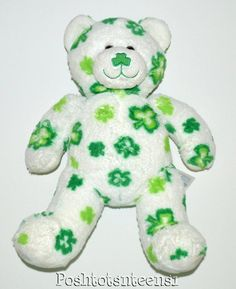 "Build-a-Bear Retired White Green Lots O' Luck Teddy Bear Plush 17"" kfp1 