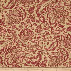 Screen printed on cotton duck this medium weight fabric is very versatile and perfect for window treatments (draperies, valances, curtains, and swags), duvet covers, pillow shams, accent pillows, tote bags, aprons, slipcovers and upholstery. Colors include burgundy red and cream.
