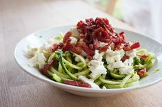 Squash spaghetti with feta and bacon (blog not in English, but seems like a pretty simple dish)
