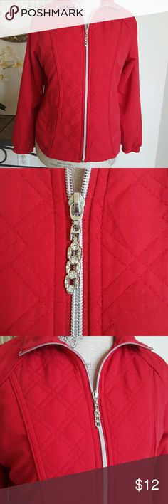 Ac-tiv-ology Jacket Quilted front panel, silver zip with rhinestone pull. Lightweight and comfy. Ac-tiv-ology  Jackets & Coats