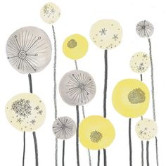 Love this print for the nursery. Yellow and Grey Seed head Spheres Abstract Illustration, Jo Clark Designs Zentangle, Palettes Color, Diy Tapete, Mellow Yellow, Grey Yellow, Artsy Fartsy, Print Patterns, Doodles, Pattern Design