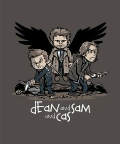 """""""Dean and Sam and Cas"""" Calvin and Hobbes style"""