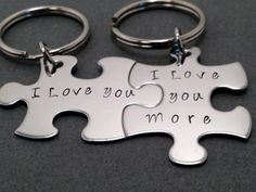 I love you, I love you more, Couples Keychains, Puzzle Piece Keychains, Couples Gift Thoughtful Gifts For Him, Romantic Gifts For Him, Diy Gifts For Him, Unique Wedding Gifts, Gift Wedding, Unique Weddings, I Love You, Valentine Day Gifts, Valentines