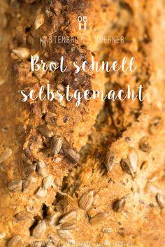 Rezept für Brot schnell selbstgemacht, Kastenbrot mit Körnern | Easy homemade bread with some seeds that's ready within 80 minutes