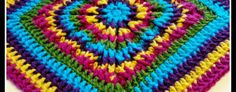 Rainbow Burst… Reversible Crochet Granny Square!! This colorful square to be made into an 8″, 10″ or 12″ square.