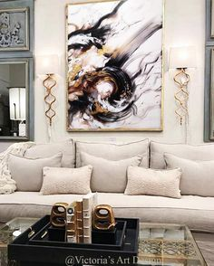Large Abstract Painting Contemporary Original Painting Painting on Abstract Canvas Living Room Modern Art Bedroom Extra Large Painting Living Room Trends, Living Room Designs, Living Room Decor, Bedroom Decor, Elegant Home Decor, Elegant Homes, Cheap Home Decor, Victoria Art, Oil Painting Abstract