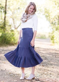 2b84304ba7d9 Modest Women's Ruffle Knit Tiered Skirt | Inherit Clothing Company –  Inherit Co. Below The