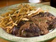 Steak au Poivre with Herbed Frites Recipe : Emeril Lagasse : Food Network Steak Au Poivre, Dinner Entrees, Dinner Dishes, Main Dishes, Dinner Recipes, French Dishes, French Food, Beef Recipes, Cooking Recipes