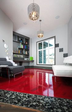 red wood floor + high gloss finish and monochrome decor