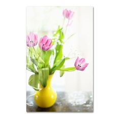 Lois Bryan Pink Tulips in Yellow Vase (125 CAD) ❤ liked on Polyvore featuring home, home decor, yellow home decor, canvas home decor, trademark fine art, pink home decor and yellow home accessories