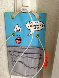 Mobile Phone Walldock made by Oliver Muenzenmayer - www. Cartoon Drawings, Street Art, Diy Projects, Cool Stuff, Canvas, Phone, Bags, Tela, Handbags
