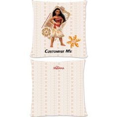 """This Fantastic Disney Moanaofficial cushion is fully licensed and is perfect for any dedicated Disney fan. Your personalisation is merged with the stylish design and is printed onto the 18"""" x 18"""" (45cm x 45cm) brushed poly fibre cushion using the latest sublimation technology. The edge to edge design is printed on both sides and is finished with an invisible zip."""