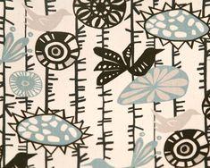 FAT QUARTER Fabric Home Decor Premier Prints Menagerie Village blue brown natural birds flowers  - SHIPSFAST