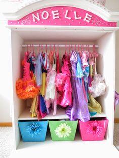 Diy dress up closet. Dress Up Corner, Dress Up Area, Dress Up Wardrobe, Dress Up Closet, Dress Up Stations, Dress Up Storage, Baby Nursery Closet, Lala, Diy Clothes Videos