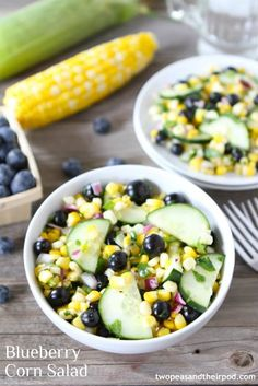 Blueberry Corn Salad This easy, fresh, and healthy salad is made with blueberries, sweet corn, and cucumbers. It is the pefrect salad for summer potlucks, picnics, and barbecues.