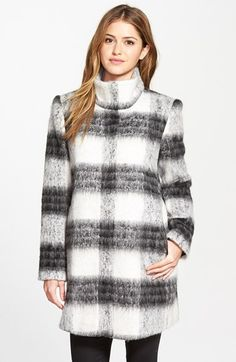 kensie+Blurred+Plaid+Stand+Collar+Coat+available+at+#Nordstrom
