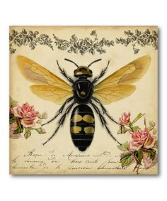 This Vintage Bee Wrapped Canvas by Courtside Market is perfect! Bees Wrap, Canvas Wall Art, Canvas Prints, Big Canvas, Canvas Size, Painting Prints, Art Prints, I Love Bees, Vintage Bee