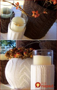Just in Time for Fall: Recycled Sweater Vases Diy Projects To Try, Crafts To Do, Fall Crafts, Craft Projects, Diy Crafts, Hygge, Ropa Upcycling, Recycled Sweaters, Christmas Decorations