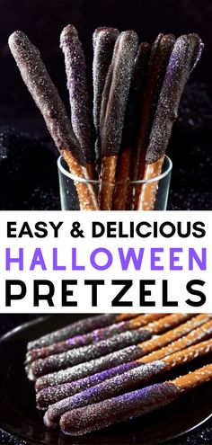 Delicious Halloween Recipes: Sparkly Halloween Pretzels I how to prepare quick recipes for halloween I tips for preparing homemade candy for halloween I hocus pocus sparkly halloween pretzels I vegan snacks for halloween I easy halloween desserts I vegan chocolate candy for halloween #halloween #veganhalloween